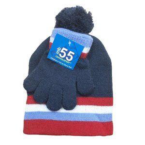 NAVY BLUE & RED Kids Hat & Glove Set Thermalsport